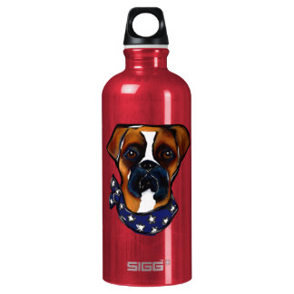 Boxer Dog 4th of July Water Bottle