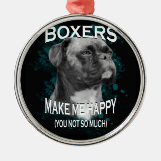 Boxer Dog Animal Lovers Art Text Silver-Colored Round Ornament