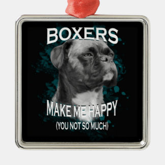 Boxer Dog Animal Lovers Art Text Silver-Colored Square Ornament