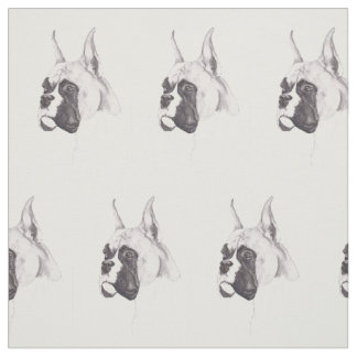 Boxer Dog Art Fabric