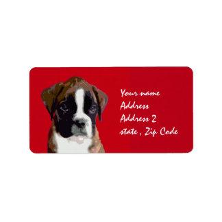 Boxer Dog Art Red address labels