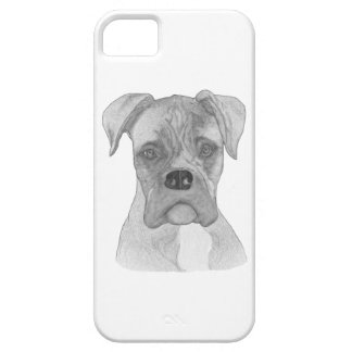 Boxer dog B&W drawing iPhone 5 Cases