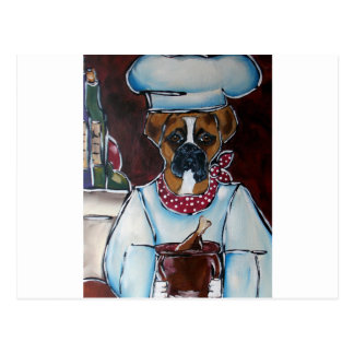 BOXER DOG CHEF POSTCARD