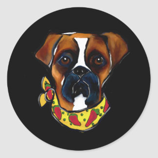 Boxer Dog Cinco de Mayo Classic Round Sticker