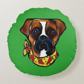 Boxer Dog Cinco de Mayo Round Pillow