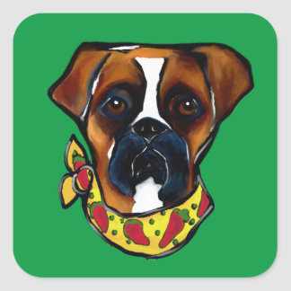 Boxer Dog Cinco de Mayo Square Sticker
