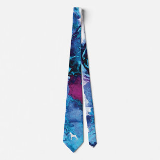 Boxer Dog Colorful Watercolor Tie- Blue and Purple Tie