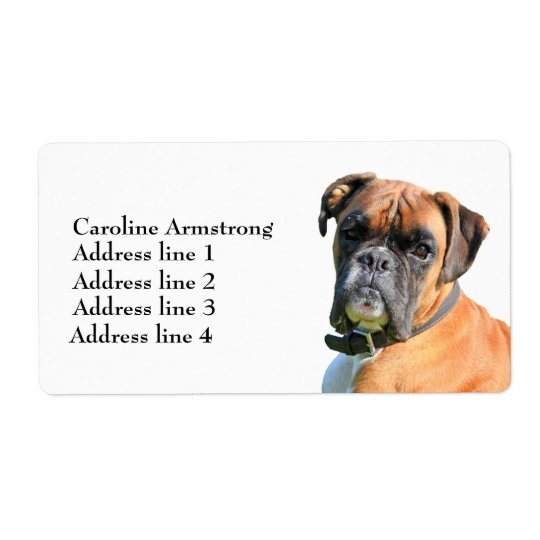 Boxer dog custom personalized address labels