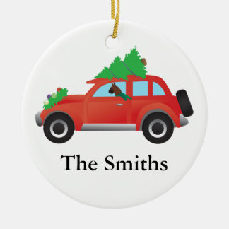 Boxer Dog Driving car w/ Christmas tree on top Ceramic Ornament