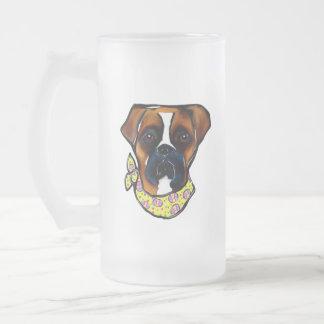 Boxer Dog Easter Frosted Glass Beer Mug