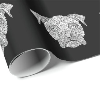Boxer Dog Face - Detailed Dogs Wrapping Paper