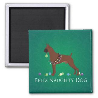 Boxer Dog Feliz Naughty Dog Christmas Design Magnet