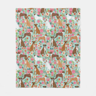 Boxer Dog Florals Fleece Blanket