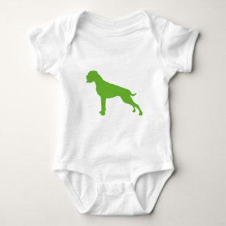 Boxer dog green baby bodysuit