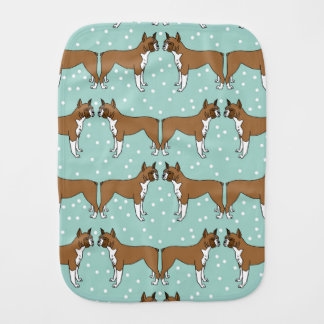 Boxer Dog in Mint - Illustration / Andrea Lauren Burp Cloth