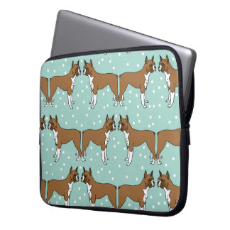 Boxer Dog in Mint - Illustration / Andrea Lauren Laptop Sleeve