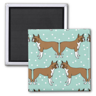 Boxer Dog in Mint - Illustration / Andrea Lauren Square Magnet