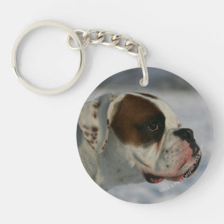 Boxer Dog in the Snow Keychain