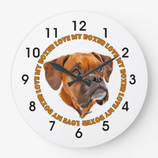Boxer Dog Love My Boxer Large Clock