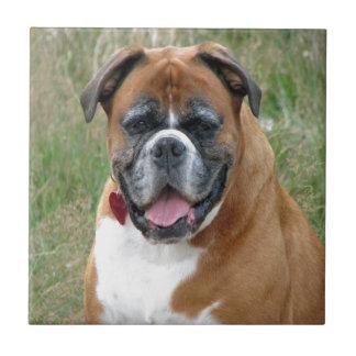 boxer dog love peace and joy tile