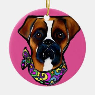 Boxer Dog Mardi Gras Ceramic Ornament