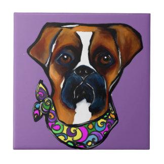 Boxer Dog Mardi Gras Tile