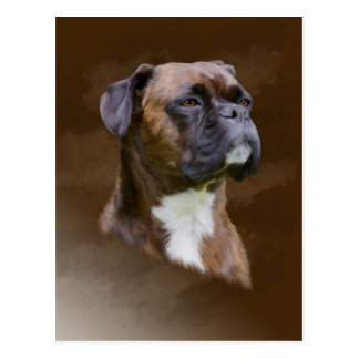 Boxer Dog Oil Painting Art Portrait Postcard