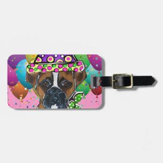 Boxer Dog Party Dog Luggage Tag