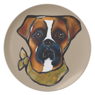 Boxer Dog Plate