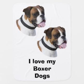 Boxer dog portrait photo swaddle blankets