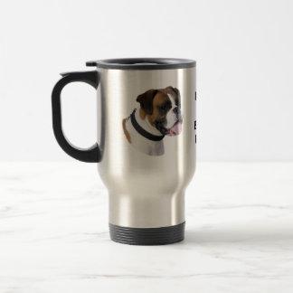 Boxer dog portrait photo travel mug