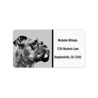 Boxer dog profile label