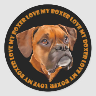 Boxer Dog Round Sticker