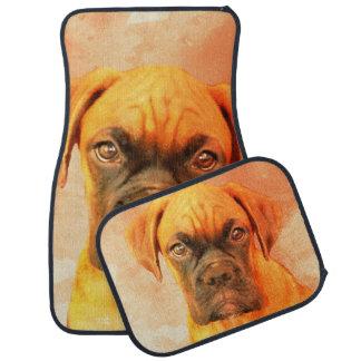 Boxer dog set of car mats