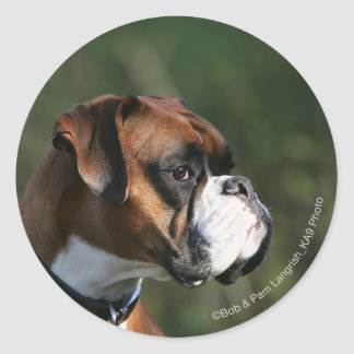Boxer Dog Side Profile Round Sticker