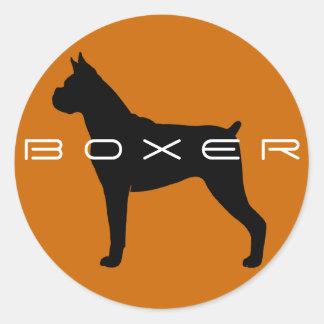 Boxer Dog Silhouette Classic Round Sticker