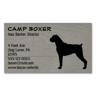 Boxer Dog Silhouette - Natural Ears Magnetic Business Card