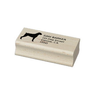 Boxer Dog Silhouette Return Address - Natural Ears Rubber Stamp