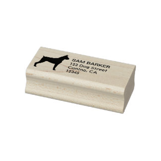 Boxer Dog Silhouette Return Address Rubber Stamp