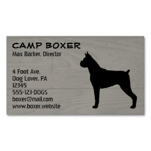 Boxer Dog Silhouette Magnetic Business Card