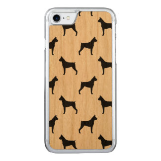 Boxer Dog Silhouettes Pattern (Cropped Ears) Carved iPhone 7 Case