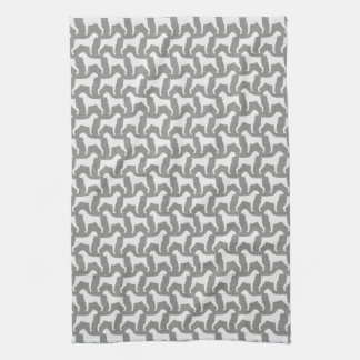 Boxer Dog Silhouettes Pattern Grey Kitchen Towel