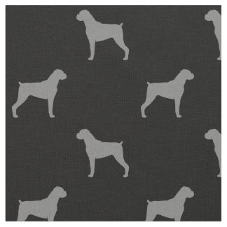 Boxer Dog Silhouettes Pattern - Natural Ears Fabric
