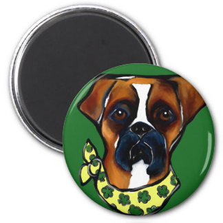 Boxer Dog St. Patty 2 Inch Round Magnet