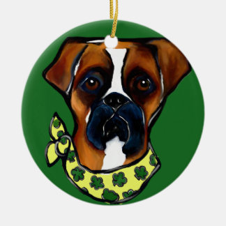 Boxer Dog St. Patty Ceramic Ornament