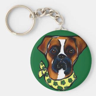Boxer Dog St. Patty Keychain