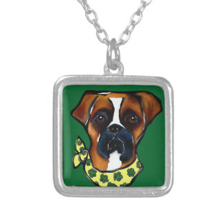 Boxer Dog St. Patty Silver Plated Necklace