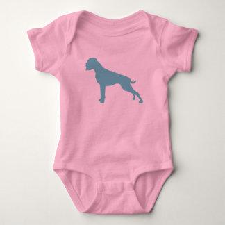 Boxer dog teal baby bodysuit