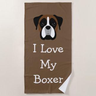 Boxer Dog Theme Love Beach Towel