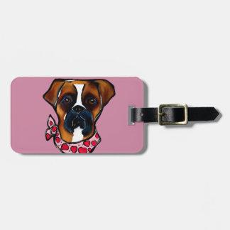 Boxer Dog Valentine Luggage Tag